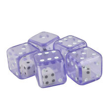 Pack of 5 Double Dice 19mm Transparent Purple & White Die Organza Bag
