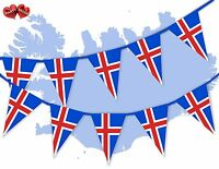 Iceland Full Flag Patriotic Themed Bunting Banner 15 Triangle flags National