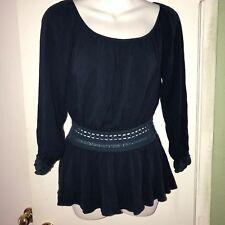 Women's DOUBLE ZERO LONG SLEEVE TOP blue Shirt Size Medium light weight
