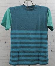 New Neff Boys Youth Half Stripe Crew Short Sleeve T-Shirt Medium Blue Teal