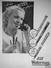PUBLICITÉ 1937 AUTOMATIQUE JIF WATERMAN LADY INK-VUE PORTE-PLUME - ALBIN GUILLOT