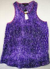 Cynthia Steffe 100% Silk Tunic Top Sleeveless Purple Snake Print Size 8 Women's