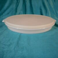 Vintage Tupperware White Divided Serving Tray 405 W/Clear Round Seal Cover