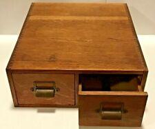 Antique dovetailed 1/4 cut quartersawn oak card file cabinet - 2 drawer 126729
