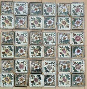 Set of 9 antique, Victorian, floral print, tiles.