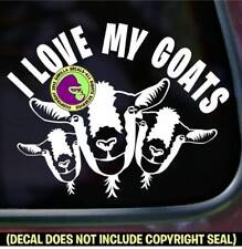 I LOVE MY GOATS Vinyl Decal Sticker Group of Goat Farm Animals Car Window Sign