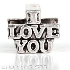 50pcs Tibetan Silver Tone Spacer Beads Fit European Charms Bracelet I Love You