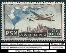 * San Marino 1951: AEREO e BANDIERA PA [Lire 1000; MVLH] €600/900€
