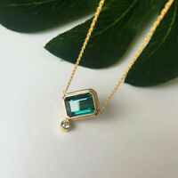 14K Yellow Gold Over 0.50 Ct Emerald & Diamond Simple Pendant Free Chain 18""