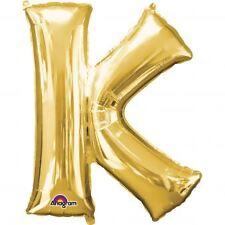 """Lettera K Gold Foil Balloon 16 """" 40 cm Aria Riempire età Nome Compleanno Anniversario"""
