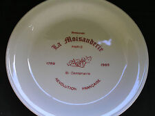 La Moisanderie Resturant Paris, French Revolution BiCentenial Collectable Plate
