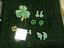 Vintage 4 Leaf Clover earrings Large Brooch Charms St Patrick's Day Green 072703