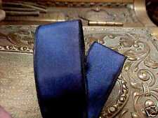 """VINTAGE 7/8"""" FRENCH RIBBON with wire SOLID 1yd NAVY BLUE Made in France"""