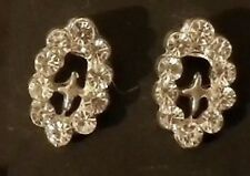 Boucle d'oreille clou croix couleur argent pierre cristal diamant strass 2213