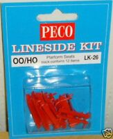 Peco LK-26. Platform Seats - Red. NEW (00 Gauge) Railway Models