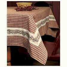 """Country Primitive BERRY VINE BURGUNDY GINGHAM TABLECLOTH Checked Table Cloth 54"""""""