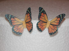 12 PRECUT Orange Edible wafer/rice paper Butterflies cake/cupcake toppers