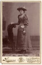 YOUNG LADY WITH BEAUTIFUL HAT BY SIMMONS, WATERLOO, IA, CABINET CARD