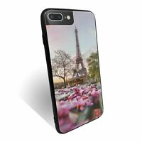 For iPhone 7 PLUS Case Tempered Glass Back Cover Spring Flower Paris Print S8568