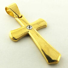 CROSS PENDANT REAL 18K YELLOW G/F GOLD SOLID DIAMOND SIMULATED DESIGN FS3A667