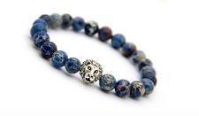 Handgefertigtes Löwen Armband mit blauen Sea Sediment Perlen Lion Buddha Fashion
