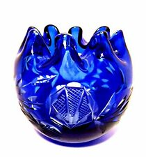 Cobalt Blue Rose Bowl Cut to Clear Crystal Art Glass Czech Bohemian Ruffle Top