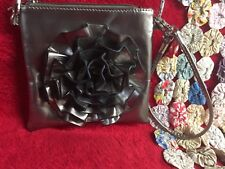 Fancy Ruffled Flower Metallic Pewter Colored Evening Bag with Removeable Straps