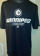 NEW Majestic NHL Winnipeg Jets Hockey White Logo Black Dry Fit Shirt Mens Large