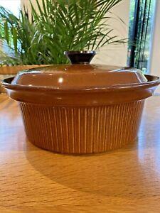 Large vintage ceramic glazed casserole round pot with lid brown 30cms Diameter