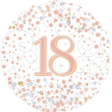 Happy 18th Birthday 18inch Sparkling Fizz Foil Balloon Rose Gold *made in Uk*