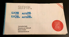 Original SUNPAK GX28/GX28B Flashgun Instruction booklet