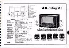 Service Manual-Anleitung für Saba Freiburg W II   Baujahr 1952/53