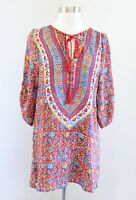 Tolani Red Colorful Floral Print Silk Tassel Tie Tunic Top Blouse Size XS Boho