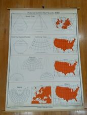 Denoyer Geppert Map Reading Series Conic Projections Chart school wall geography
