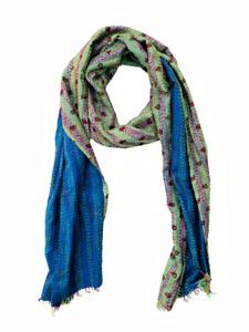Indian Handmade Vintage Silk Kantha Boho Scarf Stole Shawl-1