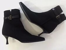 Stuart Weitzman 9 1/2 B Black High Heel Ankle Buckle Boots Women 9.5 Pointed Toe