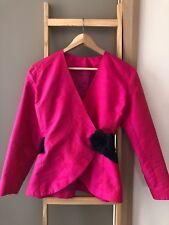 Statement Vintage Retro Hot Pink 100% Silk Wrap Blazer Jacket Sz 10 S EUC