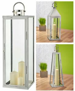 XXL Edelstahl Bodenlaterne 70cm Windlicht Garten Laterne Glas groß draußen