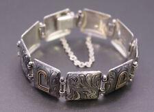 Vintage VOGT Mexico 14K Gold Plated Sterling Silver Nine Panel Engraved Bracelet