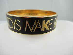 "Kate Spade Black Enamel ""Boys Make A Pass At Girls in Glasses"" Bangle Bracelet"