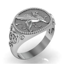 Fine Jewelry 14 Kt Real Solid White Gold Signet Ring For Men Griffin Size 10,11