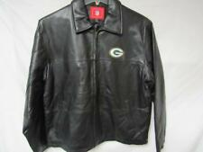 Green Bay Packers Mens Size Medium Full Zip Embroidered Leather Jacket B1 155