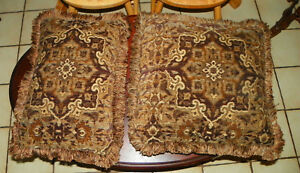 Pair of Brown Gold Tan Flower Print Throw Pillows