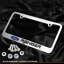 For Ford Ranger Truck Chrome Cast Zinc Metal License Plate Frame Logo Cap Cover