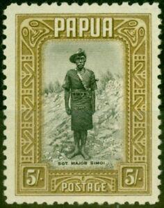Papua 1932 5s Black & Olive-Brown SG143 V.F Very Lightly Mtd Mint