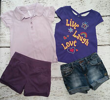 GIRLS Two Summer Outfits - Polo, Shirt, Shorts, Purple Jean Denim 4 4T 5 5T GUC