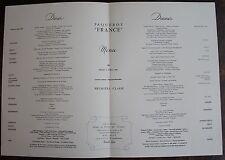 MENU PAQUEBOT FRANCE. Première classe, mardi 3 Avril 1962.