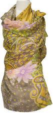 Schal scarf stole Wolle Seide wool silk bedruckt wool silk printed  Taupe Rosa