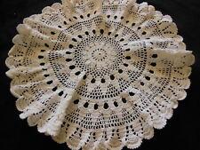 ancien napperon vintage blanc crochet pourtour plissé rond 36 cm