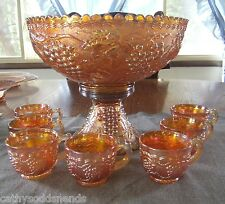 IMPERIAL MARIGOLD CARNIVAL GLASS IMPERIAL GRAPE PUNCH BOWL & CUP SET 9 PIECES